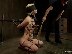 Cherry gives a blowjob, being blindfolded and twitched tube porn video