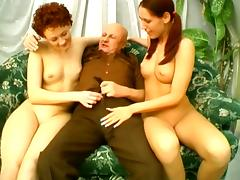 Old Bald Dude Is Insane Licking Two Young Pussies tube porn video