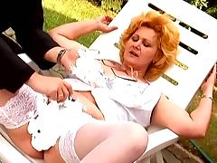 Chubby mature lady in stockings fucks by the poolside tube porn video