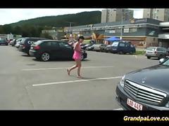 Older dude screws doll outdoor tube porn video
