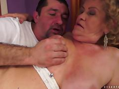 Fat blonde granny Effie gets her hairy snatch licked and fucked hard tube porn video