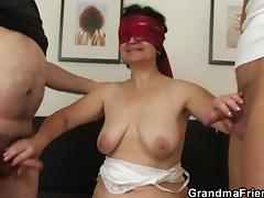 blindfolded granny tastes a handful of cocks tube porn video