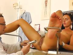 Small-tit chick in the medicine chair tube porn video