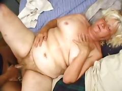 Fat blonde granny Vicky Salas gets her ugly hairy twat drilled hard tube porn video