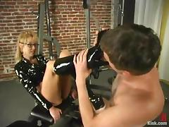 Lewd mistress Janay enjoys humiliating Wild Bill in a basement tube porn video