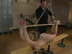 Twitches all around her body in the gym tube porn video