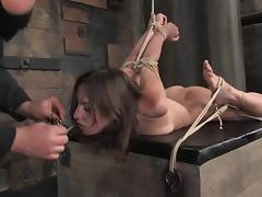 Bound Amber Rayne sucks a dick and gets toyed rough tube porn video