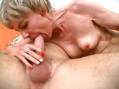 Thin Granny Screams Loud While She Rides That Stiff Cock tube porn video
