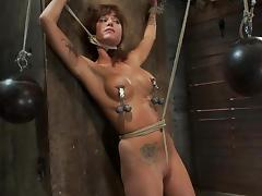 Tied up and gagged Gia Dimarco gets her tits tortured tube porn video