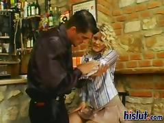 Curly blonde glamour girl gets hammered from behind tube porn video