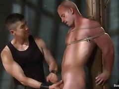Two tied up dudes get clothespinned and fucked by a man tube porn video