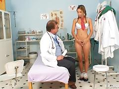 School girl Rachel Evans forced to suck on old doctor cock tube porn video
