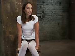 Pretty Amber Rayne gets tied up to a chair and toyed tube porn video
