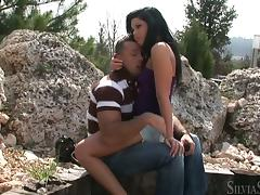 Madison Parker blows and gets her pussy pounded doggy style outdoors tube porn video