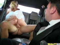 Hot milf gets fucked in a limousine in her wedding dress tube porn video