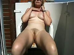 Mature Masturbating on the balcony tube porn video