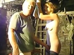Skinny chick is getting humiliated by an old man tube porn video