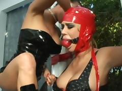 Black fucker and mistress are humiliating this brunette tube porn video