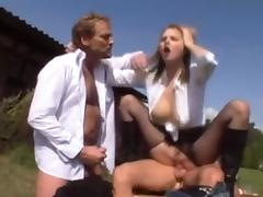 Pretty blonde in boots gets sex in the country tube porn video