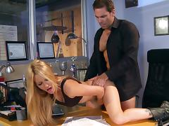 Horny Jessica Drake gets fucked from behind on an office table tube porn video