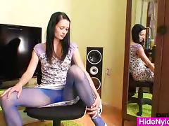 Slim teen in blue nylon tights toys herself tube porn video