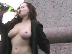 Curly redhead is drinking wine outdoors tube porn video