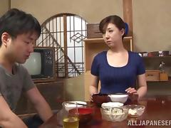 Japanese MILF gets banged by a younger guy after a dinner tube porn video