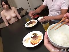 Japanese girl gets fucked and facialed by two men at dinner table tube porn video