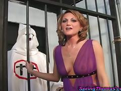 Sexy blondie is going to be balled by black prisoners tube porn video