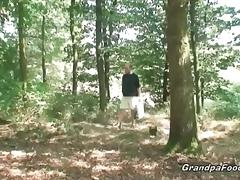Sexy babe meets old dude in the woods… tube porn video