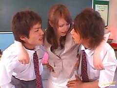 MMF action with hot teacher Akiho Yoshizawa tube porn video
