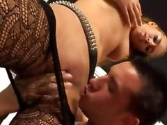 Two guys are fucking this slut in stockings tube porn video
