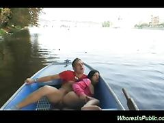 Slut is fucked in the boat tube porn video