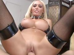 Busty blonde is deepthroating this hard dick tube porn video