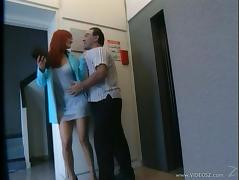 Slutty Redhead MILF Gets A Mouthful Of Cum In The Elevator tube porn video