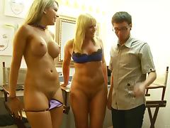 Flower Tucci and Courtney Cummz work on a lucky man's weiner tube porn video