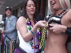 These girls are ready to everything for Mardi Gras beads tube porn video