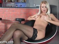 Sexy legs look tasty in black fishnet stockings tube porn video