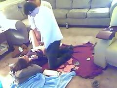 Nerdy hottie has threesome in her living room tube porn video