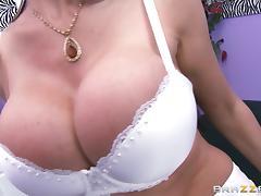 Eva Karera lets Mick Blue rub her big fake boobs before they fuck tube porn video