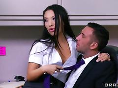 Interracial FFM threesome scene with Asa Akira and Diamond Jackson tube porn video