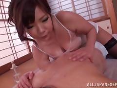 Pretty Japanese lady with big knockers gets oiled and teased tube porn video