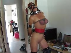 Redhead in chains plays with a big dildo tube porn video
