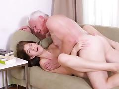 Grandpa goes wild on her shaved twat tube porn video