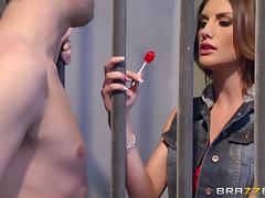 Slim cutie August Ames gets her twat properly fucked in a jail tube porn video