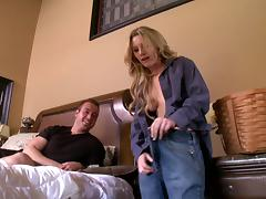 Naughty blonde cougar with a shaved pussy enjoying a hardcore fuck on her bed tube porn video