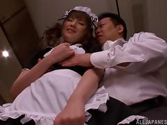Naughty Japanese maid Tsubasa Amami gets a cock ride tube porn video