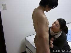 Nasty mature gets down on a younger hunk for a blowjob tube porn video