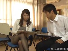 Mature Japanese babe in stockings and miniskirt with long hair giving a steamy blowjob tube porn video