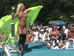 Naughty nude blonde amateur with long hair getting wild in public party outdoor tube porn video